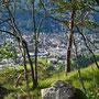 Blick vom Grat nach Norden auf Balsthal hinab