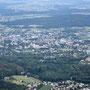 Solothurn mit der St. Ursen Kathedrale links der Bildmitte