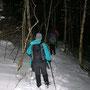 Jeder Schritt vom Schattenberg in den Horngraben hinunter ist sehr rutschig