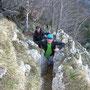 Toni und Dani im Ausstiegsriss vom Häxewägli zur Stallfluh