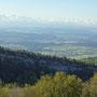 Den ganzen Tag über haben wir eine schöne Sicht auf die Alpen