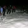 Nach dem Waldausgang nimmt die Schneehöhe sofort zu