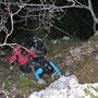 Senkrechter Blick hinunter beim Aufstieg durch die Schorenleiter zum Ankehubel am Donnerstag 8. November 2012