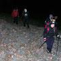Sibylle mit Hirschgeweih auf der pickelhart gefrorenen Rislisberg Alpweide