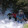 Donnerstagswanderung am 27. März 2008 im Neuschnee Aufstieg durch die Schlucht zum Niederwiler Stierenberg