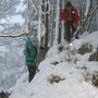 Der Abstieg vom Schilt ist sehr rutschig und wir verlieren ziemlich Zeit
