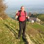 Donnerstagswanderung am 9. April 2009 zu zweit im steilen Längmatthoger beim Aufstieg zum Stierenberg