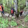 Einstieg in den steilen Schluchtabstieg Le Gore Virat