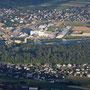 Blick von oben ins Industriegelände Luterbach