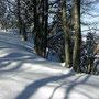 Ab 1300m nimmt die Schneehöhe massiv zu.