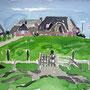 Fährhaus auf der Hallig Langeness, Aquarell, 2012, 24 x 32 cm