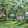Isernhagen, Garten mit Fachwerkhaus, Aquarell, 2008, 24 x 32 cm