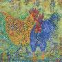 Blue Rooster and Golden Hen, 2019, Acryl-Mischtechnik, 110 x 100 cm