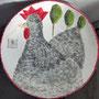 Stolzer Hahn, Keramikschale, Durchmesser 40 cm