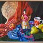 Stillleben mit Skulptur und Früchten, Acryl, 2008, 50 x 70 cm