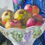 Stillleben mit Apfelschale, Detail, Acryl, 2008, 40 x 50 cm