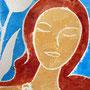 Dame mit Tulpe, Weißliniendruck, 2014, 16 x 23 cm
