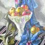 Stillleben mit Apfelschale, Acryl, 2008, 40 x 50 cm