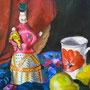 Stillleben mit Skulptur und Früchten, Detail, Acryl, 2008, 50 x 70 cm