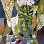 Stillleben mit Rosen und Früchten, Acryl, 2009, 60 x 80 cm