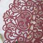 Lasercut Pocketfold Karten #LPFC2128 in Burgundy Shimmer Detail Ornament