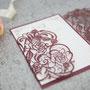 Lasercut Karte #B0177, Standardfarbe Burgundy Shimmer, Kuvert mit Inlay