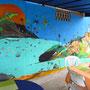 Wandmalerei im Hostel