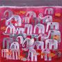 'Elefanten und Fische' (50 x 50 cm)