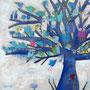 'Blauer Baumgesang' (60 x 60 cm)