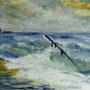 """""""Langeness - Sturm auf der Hallig"""" - Acryl auf Papier, 30 x 40, 2006"""