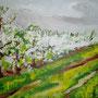"""Altes Land - Apfelblüte"", Acryl auf Leinwand, 40 x 50, 2005"