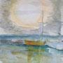 """""""Kurische Nehrung - Im Hafen von Nidden"""", Acryl auf Papier, 40 x 30, 2008"""