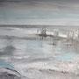 Buhnen im Meer - Acryl auf Leinwand gespachtelt, 50 x 70, 2015