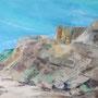 """Ahrenshoop - Steilküste"", Acryl auf Malplatte, gespachtelt, 40 x 50, 2012"