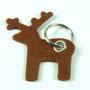 Schlüsselanhänger aus Filz in Elchform mit Schlüsselring Individualisierbar von biasto-laserdesign