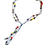 necklace - glass and metal beads and waxed cord