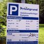 Hinweisschild am Parkplatz