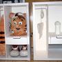 Hydro-Québec 2015 : boîtes de rangement pour costumes de mascotte, aménagées de supports et tiroir cartonnés, vue d'ensemble