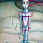 EL PEZ TRANSPARENTE. LAS TRECE LUNAS. Acrílico sobre tabla. 80 x 60cm. DISPONIBLE