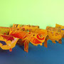 Ipopotami colorati: Leon, Letizia, Irene, Martina, Tarek Andrej e Sergia, Trieste Scuola Arte Sintesi, Fondazione ELIC