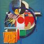 """""""A"""", 2010, 50 x 60 cm, Collage, verschiedene Materialien auf Glas und Papier"""