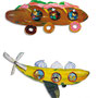 bread car and banana plane