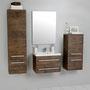 Waschplatz Genua 60, 2-teilig, Waschbecken und Unterschrank (GE 6250), Hängeschrank groß (GE 4150), Midischrank (GE 4050), Front und Korpus Holzdekor antik