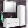 Waschplatz Sivas 90 (SL 1090), LED-Spiegelschrank 90 (SL 9000) und Hängeschrank 50 (SL 1250),  Front und Korpus weiß glänzend lackiert