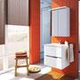 Waschplatz Sivas 50 (SL 1050), Keramikwaschbecken, Tiefe 39 cm, LED-Spiegelschrank 50 (SL 5000), Ausführung weiß glänzend  lackiert