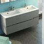 Doppelwaschplatz Sivas 120 (SL  1112D),  Ausführung grau matt lackiert
