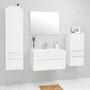 Aruva 80 (SA 8010-2), Waschplatzset 2-teilig, Waschtisch und Unterschrank, Midischrank und Hängeschrank groß, Ausführung Front und Korpus weiß glänzend lackiert