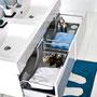 Aufsatzbecken Gussmarmor, Schubladen mit seitlichen Metallzargen, vollausziehbar mit Softeinzug