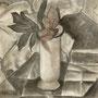 Stillleben  2006,  Kohle auf Papier 35x35 cm