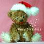 テディベア メリークリスマス くまサイズ31cm モヘア/オールドブラックシューボタン/綿・ペレット  お山のくまのこ
